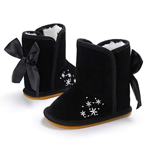 y Boots Bowknot Warm Winter Snow Boots Non-Slip Rubber Soles Infant Prewalker Toddlers Shoes (12-18 Months, Black) ()