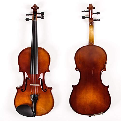 C Five Natural Acoustic Solid Wood Spruce Veneer Violin for Beginner Student Performer with Case Bow Rosin Gift Present,1/2