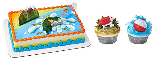 Catch the Big One Bass Cake Topper & 12 Pack Fishing Lure Bobber Cupcake Rings ()