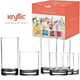 Plastic Tumbler Cups Drinking Glasses - Acrylic Highball Tumblers Set of 8 (4x16oz & 4x14oz) Clear Reusable Kitchen Drinkware Dishwasher Safe Bpa Free Hard Rocks Glass Drink Wine Water Juice Cup Sets
