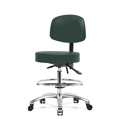 Top Medical Stool with Back, Seat Tilt, Chome Footring and Base 25