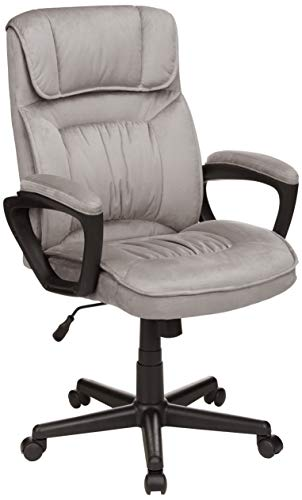 AmazonBasics Classic Office Chair – Adjustable, Swiveling, Microfiber Cover – Light Gray