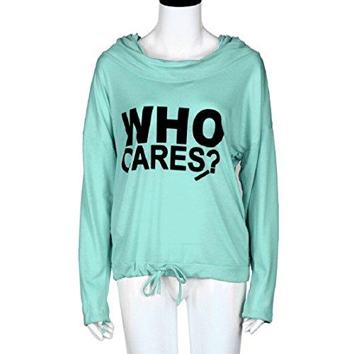 OverDose las mujeres impresión de la letra de la manga larga camiseta ocasional de la camiseta remata la blusa Verde