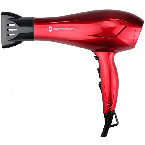 (JINRI Hairdryer Negative Ionic Blow Dryer 1875w Professional Salon Light Weight Hairdayer Low Noise with Concentrator Patent Red)