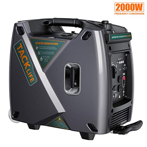 TACKLIFE Generator, Two Wheel Portable Power Station, 2000W Gasoline Generator, 4.2L Fuel Tank, Inverter, USB 3.0 Charging - GEG001