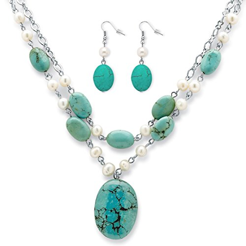 Mother Pendant Of Aqua Pearl (Palm Beach Jewelry Silver Tone Earrings and Necklace, Cultured Freshwater Pearl and Genuine Turquoise, 17