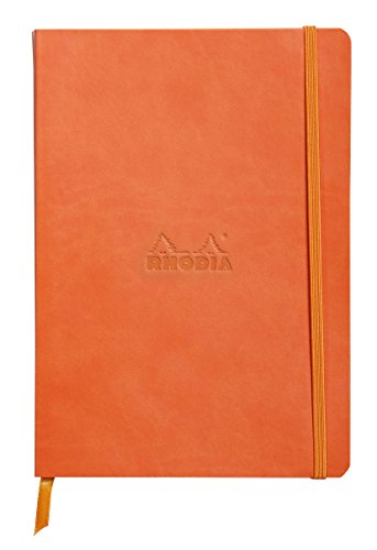 Rhodiarama Rodia Leather Softcover A5 Tangerine Notebook - Dotted Pages - 5.8 x 8.3 in