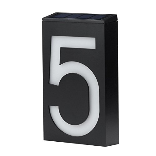 Mikey Store Rainproof Solar Lighted Address Plaque Sign House Hotel Door Address Plaque Number Digits Plate (5)