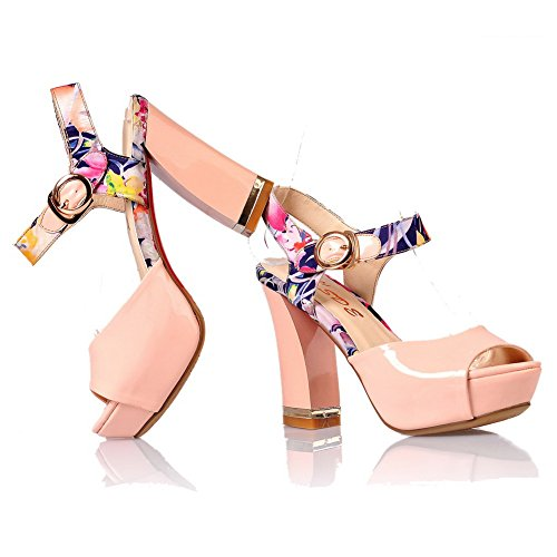 Voguezone009 Sandali Verniciata Rosa Heels Toe Platform Chunky Alto Pu Pelle Uk Stampa Womens Open 3 Peep Tacco vSUwFvrq