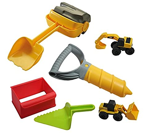 Sand Toys - Construction Zone Play Set - Sandbox Beach Truck Toys - Case Front End Loaders