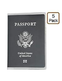 alait–Funda para pasaporte protector, 5paquetes de pasaporte en una bolsa de plástico, transparente