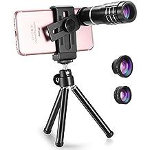 Techo Professional 12x zoom Teleobjetivo, lente de ojo de pez, gran angular, lente macro para iPhone Samsung Galaxy S8S7edge 76S Plus se, Google y la mayoría de smartphones