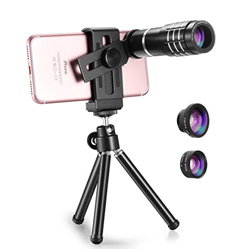 TECHO Professional 12X Zoom Telephoto Lens, Fisheye Lens, Wide Angle Lens, Macro Lens for iPhone 8 7 6s Plus SE, Samsung Galaxy S8 S7 Edge Google & Most Smartphones - Fixed Camera Bracket Clear Window