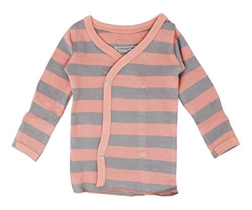 (L'ovedbaby Unisex-Baby Organic Cotton Kimono Wrap Shirt (Coral/Light Gray Stripe, 3-6 Months))