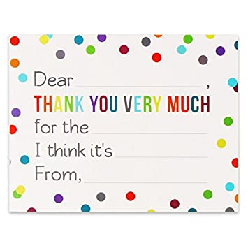 fill in the blank thank you cards with envelopes for kids confetti