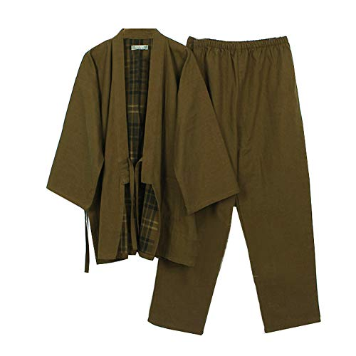 Fancy Pumpkin Men's Japanese Style Double Gauze Cotton Kimono Pajamas Suit Dressing Gown Set[Army Green,L]