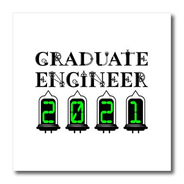 Graduate Design T-shirts - 3dRose Alexis Design - Graduate Engineer - Graduate engineer 2021. Elegant, unique text on white background - 8x8 Iron on Heat Transfer for White Material (ht_286050_1)