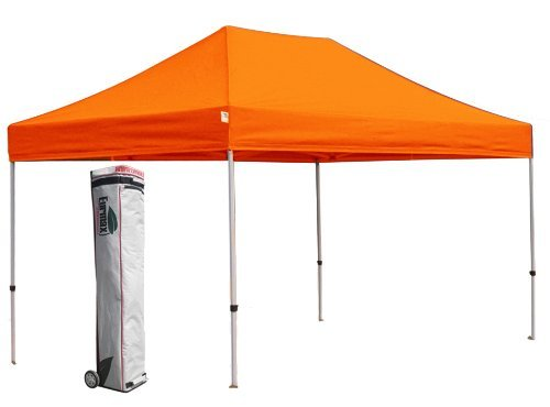 Eurmax 10 X 15 PRO Pop up Canopies Commercial Outdoor Tent With Wheeled Bag (Orange)