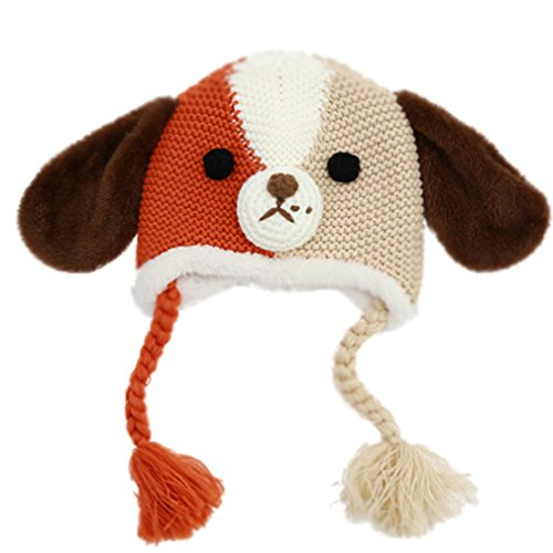 Baby Boys Long Ear Spilit Color Puppy Dog Crochet Fleece Animal Beanie Beige