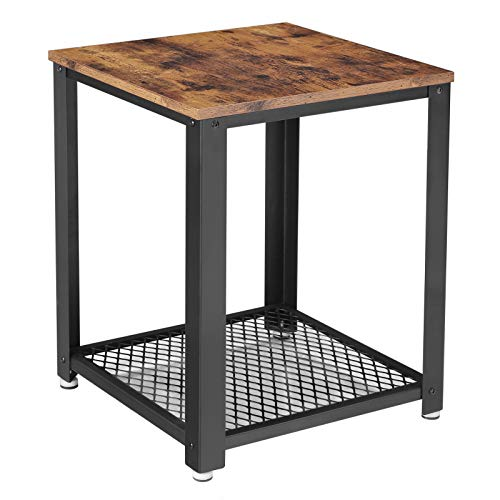 VASAGLE Industrial End Table, 2-Tier Side Table with Storage Shelf, Sturdy, Easy Assembly, Wood Look Accent Furniture, with Metal Frame, Rustic Brown ULET41X