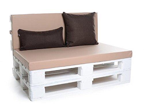 Palettenkissen, Gartenmöbel Auflagen, Sitzbankauflage, Matratzenauflagen auch m. Rückenlehne bzw. Dekokissen in Kunstleder hellbraun, wasserabweisend und strapazierfähig