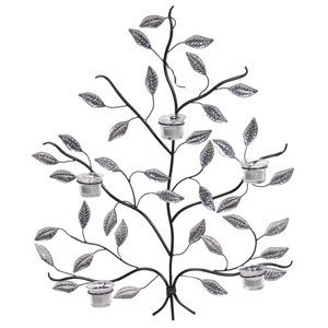 Silver Metal Leaf Wall Art With Tea Light Holders