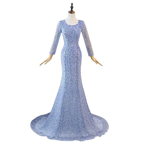 Langen Frauen Abendkleider King's mit Himmelblau Strass Prom Love Formale rmeln Maxi Lange Kleider 44pXxv