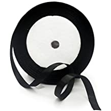 KGS Satin Ribbon | 33 yards x 1/4 inch | 1 Roll/pack (Black)