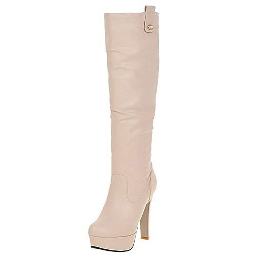 RAZAMAZA Mujer Elegante Tacón Alto Botas Media Pierna  Amazon.es  Zapatos y  complementos 6c34c16876c49