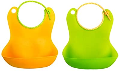 Silicone Baby Bibs Waterproof Eco Rubber Bib for toddlers - 2 pack + Bonus Sponge - Buy as gifts for new parents