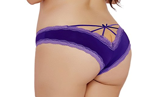Lacy Line Plus Size Sexy Contrast Lace Hipster Panties With Strappy Back (1x/2x,Purple)
