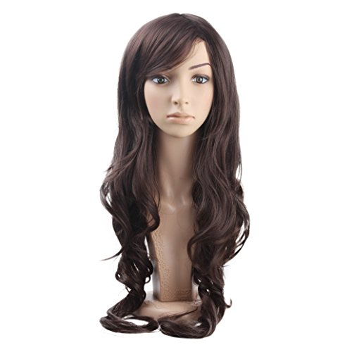 MelodySusie Long Big Curly Wig for Women, 31 inches Hair Replacements Wig with Bang, Synthetic Fiber, Natural as Human Hair, for Daily Party Cosplay Costume, Wig Cap Included, Dark Brown -
