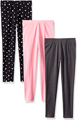 Basic Grey Heart - Amazon Essentials Big Girls' 3-Pack Leggings, Heart Print, Pink and Heather Grey