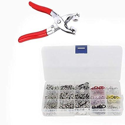 120pcs diente botones de presión Open anillo broches botones cierres anillos 9,5mm + alicates