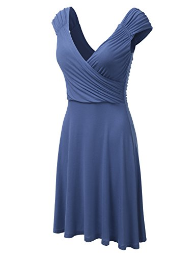 DRESSIS Womens Cap Sleeve V-Neck Ruched Flowy Wrap Dress Denimblue M (Surplice Wrap Dress)