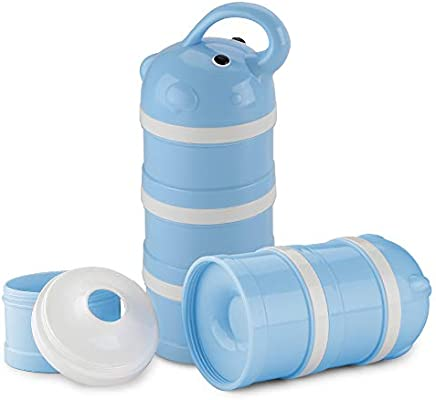 3 Feeds Formula Dispenser Milk Powder Box and Snack Storage Container-Milk Cans Storage Box for Travel and Outdoor Activities Sky blue BPA Free
