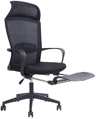 人間工学に基づいたオフィスチェア-ハイバック2層3Dメッシュレーシングゲーミングチェア、ランバーサポート高さ調整可能なシート、ヘッドレスト メッシュバック-フットレスト付きソフトフォームシートクッションブラック