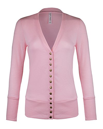 Womens Women's V-Neck Button Down Knitwear Long Sleeve Soft Basic Knit Snap Cardigan (C45611 Dust Pink, Large)