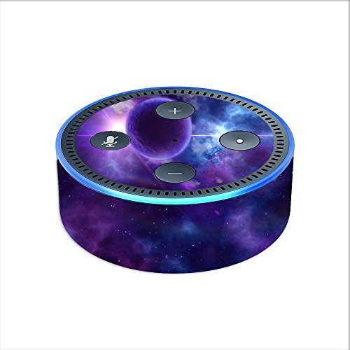Price comparison product image Skin Decal Vinyl Wrap for Amazon Echo Dot 2 (2nd generation) / Purple Moon Galaxy
