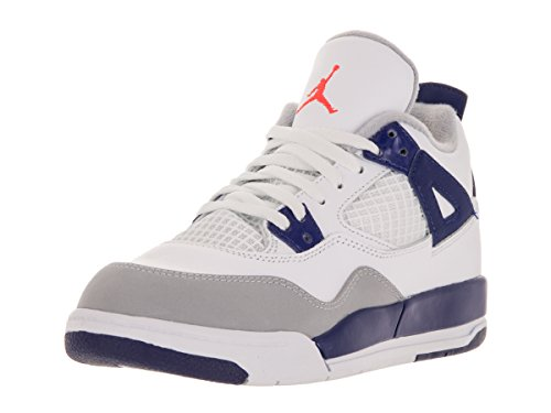 Jordan Kids 4 Retro GP (PS) WHITE/DEEP ROYAL BLUE/WOLF GREY/HYPER ORANGE 487725-132 3 by Jordan