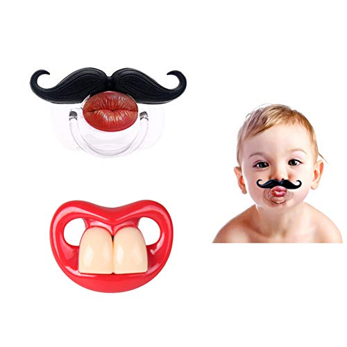 (FLYPARTY 2Pcs Funny Teeth And Mustache Pacifier,Cute Gentleman Mustache Designed Baby Pacifiers for Soothe Your Newborn Baby, Perfect Baby Shower Gift For Small Boys Or)