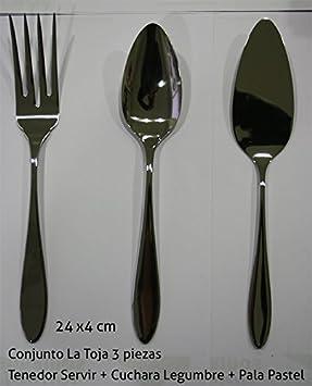 Cubertería La Toja (1 tenedor Servir+1 Cuchara legumbre+1 Pala Pastel): Amazon.es: Hogar