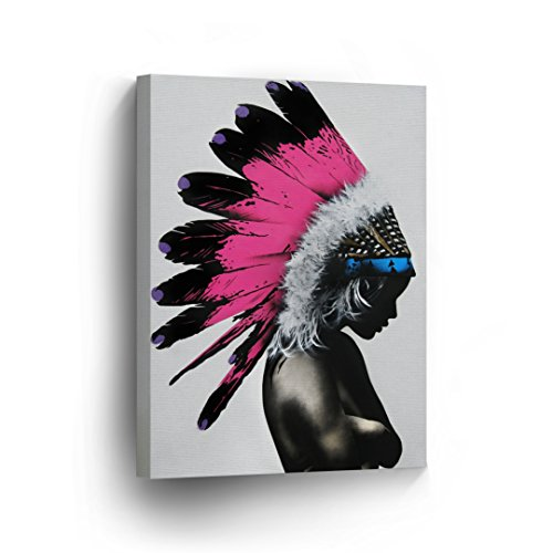 INDIAN WALL ART Native American Sexy Woman with Headdress Black and Pink Canvas Print Home Decor Decorative Artwork Gallery Wrapped Wood Stretched and Ready to Hang -%100 Handmade in the USA - 17x11 (American Native Make Headdress)
