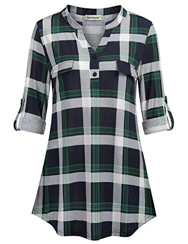 (Nandashe Long Sleeve Tunics Top for Women, Female Cute Lightweight Button Front V-Neck Plaid Shirts with Fake Pocket Navy Green Grid Retro Checkered Blouse Work Wear Dark Blue Light Green XL)
