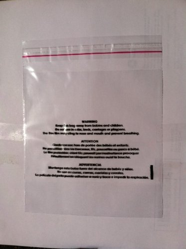 """6"""" x 9"""" Resealable Suffocation Warning Bag, 1.5 Mil, 100 Count"""