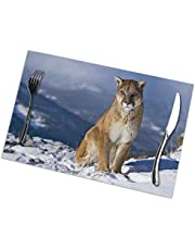 BLSYP Cougar Background Placemats for Dining Table Set of 6 Placemat for Dinner Non-Slip Heat Insulation Stain Resistant Washable Table Mats Set of 6