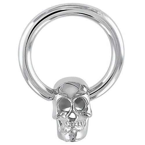 FreshTrends 14K White Gold Skull Captive Bead Belly Nipple Eyebrow Lip Ring 14G 1/2