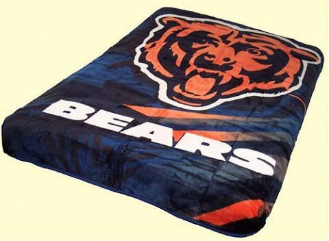 NFL Football Licensed Chicago Bears Queen Size Royal Plush Blanket Throw by Northwest