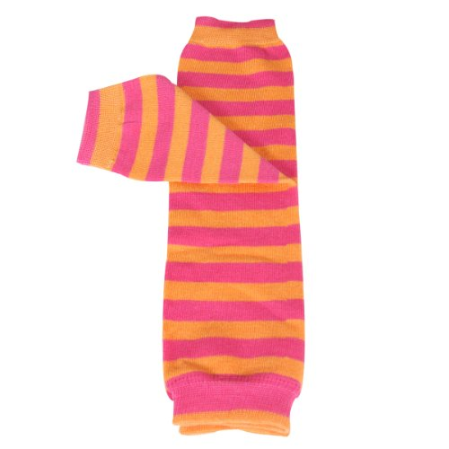 Wrapables Colorful Baby Leg Warmers, Stripes Pink & Orange