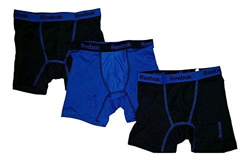 (Reebok Boys Performance Boxer Briefs - 3 Pack (Small, Black/Blue/Black))